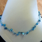 mother of pearl magensite and fp wire crochet necklace