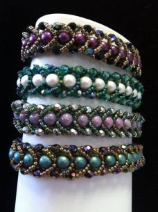 Artistic Touch Beads Millville NJ store flat spiral stitch bracelet white display black bkgrd